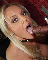 Alexis Golden - Blond sucks & fucks black dick at a gloryhole