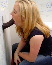 Brittany - Just 18 Blond sucks off a black dick in gloryhole